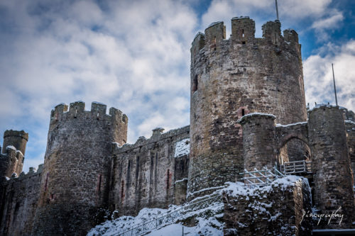snow at conwy castle